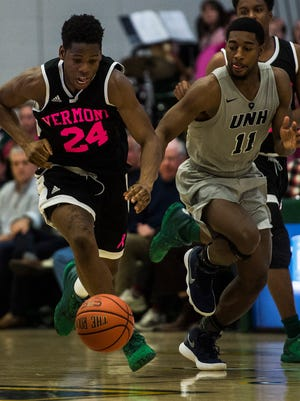 UVM's Ben Shungu, seen in action vs. New Hampshire on Feb. 15, is now a scholarship player for the Catamounts. Shungu will be a redshirt sophomore this fall.