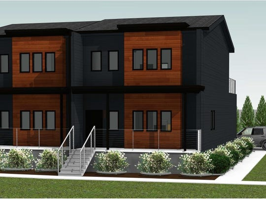 A rendering of the townhouses developer Garritt Bader wants to build in the 800 block of Cherry Street.