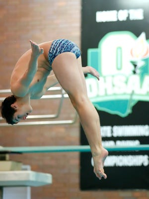 Ontario sophomore Kristian Kowalski propels himself off the board during Wednesday's Division II state diving competition in Canton.