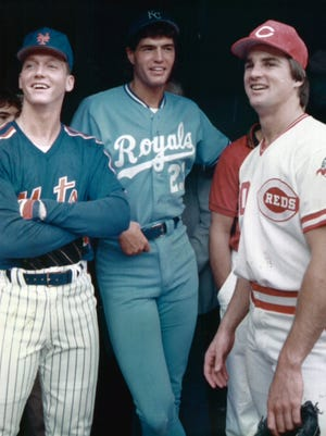 The Reds' Danny Jackson with the Mets' David Cone and the Royals' Mark Gubicza on July 12, 1988.
