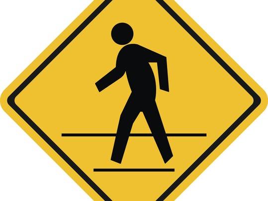 Warning traffic, Pedestrian traffic road sign