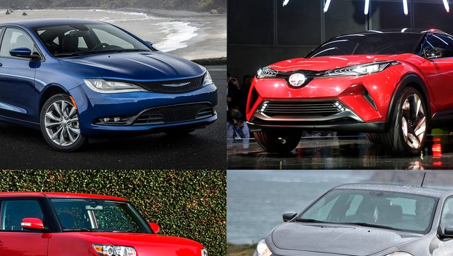 Clockwise from upper left, 2016 Chrysler 200S, Scion C-HR concept car, 2016 Dodge Dart Limited and 2013-2015 Scion xB