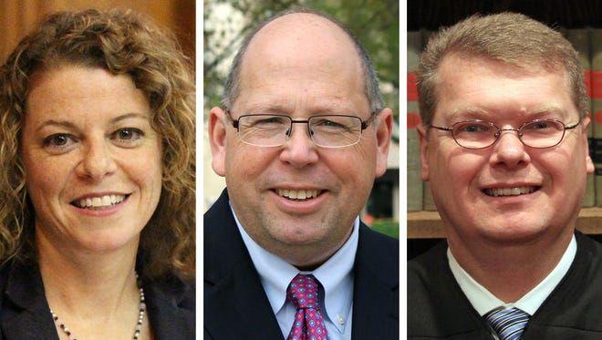 Wisconsin Supreme Court candidates, from left: Rebecca Dallet, Timothy Burns and Michael Screnock.