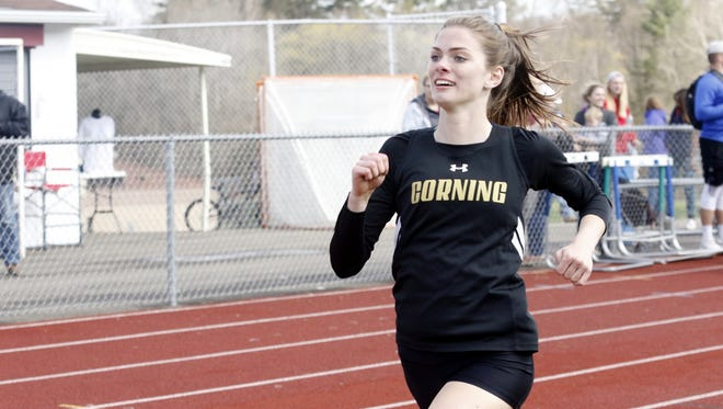 Lindsey Butler of Corning runs in the 800 meters as part of the girls pentathlon Saturday at the Waite/Molnar Invitational at Ernie Davis Academy.