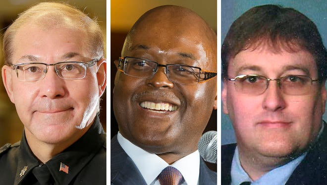 Candidates for Milwaukee County sheriff in the August primary election are, from left, Acting Milwaukee County Sheriff Richard Schmidt, Earnell Lucas and Robert J. Ostrowski.