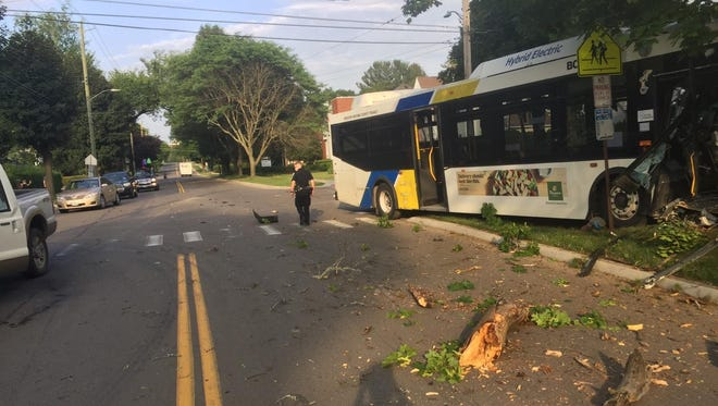 A B.C. Transit bus drove onto the sidewalk after colliding with another vehicle Thursday evening.