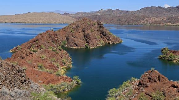The Colorado River forms Lake Havasu on the Arizona/California border.