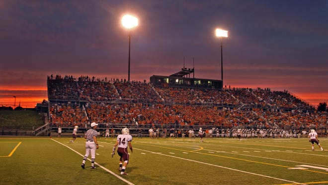 The scene of the Dowling-Valley football game at Valley Stadium in 2012.