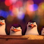 """Kowalski, voiced by Chris Miller, Skipper voiced by Tom McGrath, Rico, voiced by Conrad Vernon and Private voiced by Christpher Knights in a scene from, """"The Penguins of Madagascar."""""""