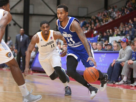 Brandon Jennings drives to the basket against Iowa in an NBA D-League game Saturday night in Walker, Michigan.