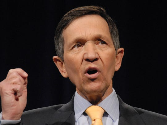 Lisa J. Tolda/Reno Gazette-Journal ... Rep. Dennis Kucinich, D-Ohio, gives his opening statement during a forum for Democrat presidential candidates in Carson City, Nev.