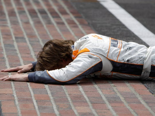 Wheldon bussed the bricks agains after winning the