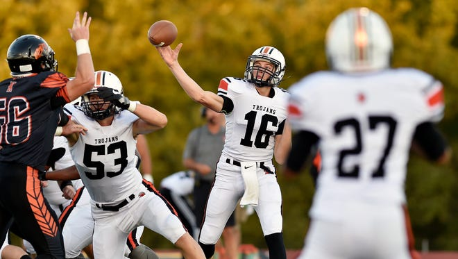 York Suburban quarterback Max Reinecker throws a pass in the first half of a YAIAA football game Friday, Sept. 28, 2017, at Northeastern. Northeastern defeated York Suburban 35-0 in its first home game of the 2017 season.