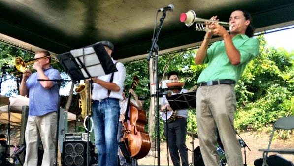 The Bottoms Up Dixieland Band performs as part of a free concert Sunday at Waryas Park in Poughkeepsie. The 15th edition of the Jazz in the Valley music festival Saturday and Sunday brought headliners and local acts to City Hall and in Waryas Park.
