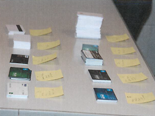 Stacks of credit cards were recovered during a routine