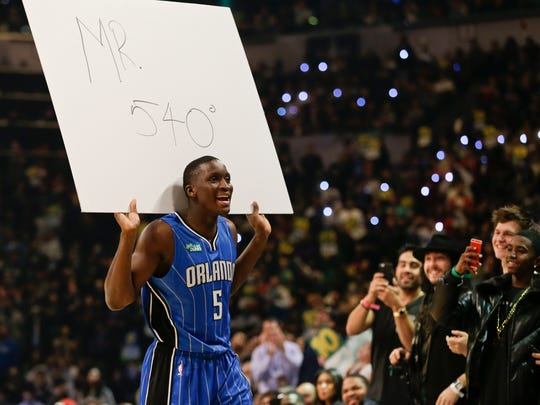 Orlando Magic's Victor Oladipo reacts after a dunk in the NBA All-Star Saturday Slam Dunk contest Saturday, Feb. 14, 2015, in New York.  (AP Photo/Frank Franklin II)