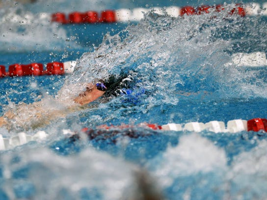 Dallastown senior Noah Brockway in the 100 backstroke.