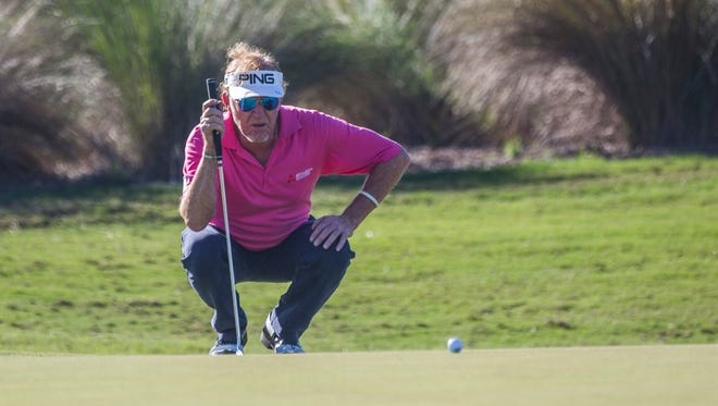 Miguel Angel Jimenez lines up his putt on the ninth hole during the Chubb Classic in Naples on Friday, February 16, 2018.