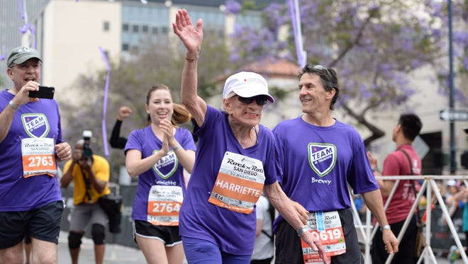 Harriette Thompson finished the San Diego Rock 'N Roll Marathon on Sunday in 3:42:56, becoming the oldest woman to finish a half-marathon, according to organizers.