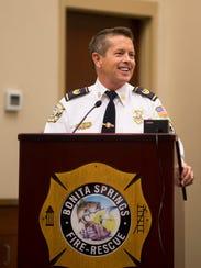 Bonita Springs Deputy Chief Richard Scott speaks during