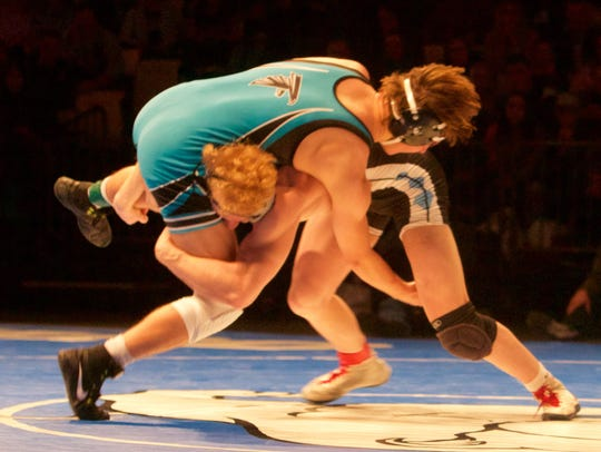 Canyon View's Brady Lowry wrestles on Saturday at the