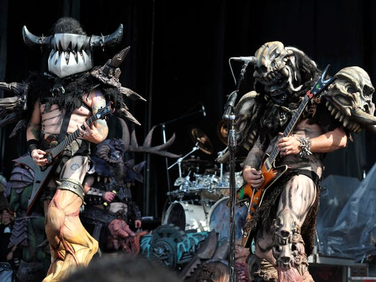 Mike Derks aka Balsac the Jaws of Death, left, and Brent Purgason aka Pustulus Maximus of GWAR performs at Riot Fest & Carnival at Douglas Park on Friday, Sept. 16, 2016, in Chicago. (Photo by Rob Grabowski/Invision/AP)