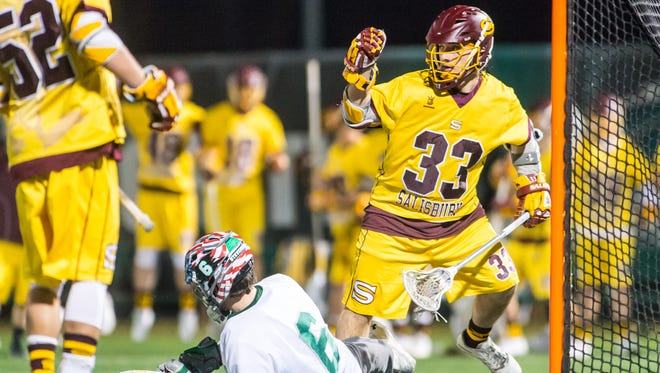 Salisbury attack Carson Kalama (33) celebrates a goal against Stevenson on Wednesday, March 8 at Mustang Stadium in Owings Mills.