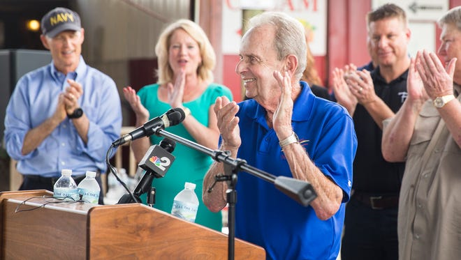 Naples Mayor Bill Barnett speaks at a ribbon-cutting that reopened businesses at Tin City in Naples on Monday, Oct. 9, 2017, after damage caused by Hurricane Irma.
