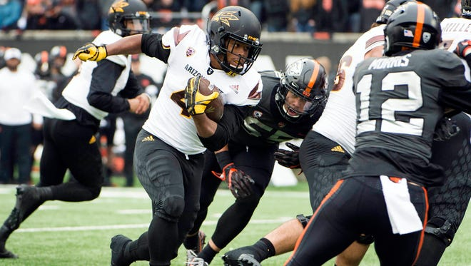 Nov 18, 2017; Corvallis, OR, USA; Arizona State Sun Devils running back Demario Richard (4) scores a touchdown during the first half in a game against the Oregon State Beavers at Reser Stadium. Mandatory Credit: Troy Wayrynen-USA TODAY Sports