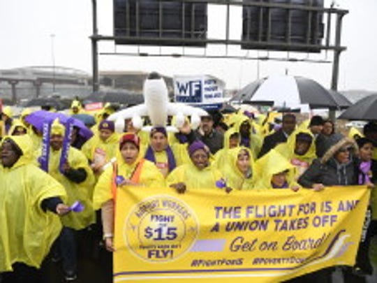 A rally in support of raising the minimum wage to $15