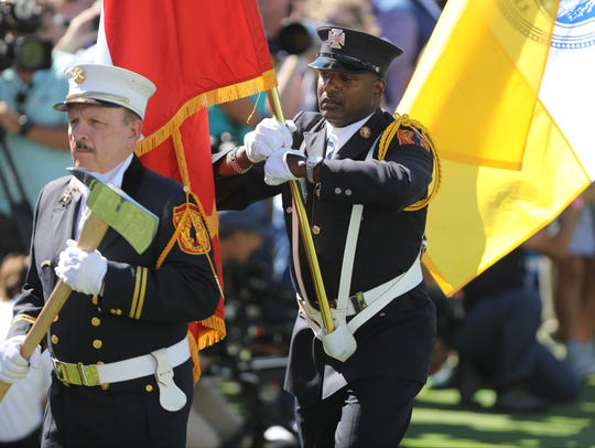 The Jersey City Fire Dept. Color Guard is shown during