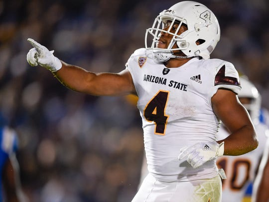 Nov 11, 2017; Pasadena, CA, USA; Arizona State Sun Devils running back Demario Richard (4) reacts after a touchdown against the UCLA Bruins during the first half at Rose Bowl. Mandatory Credit: Kelvin Kuo-USA TODAY Sports