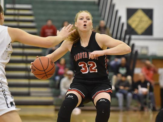 Lakota West's Abby Prohaska makes a move in the first half against Mason Saturday, February 10th at Mason