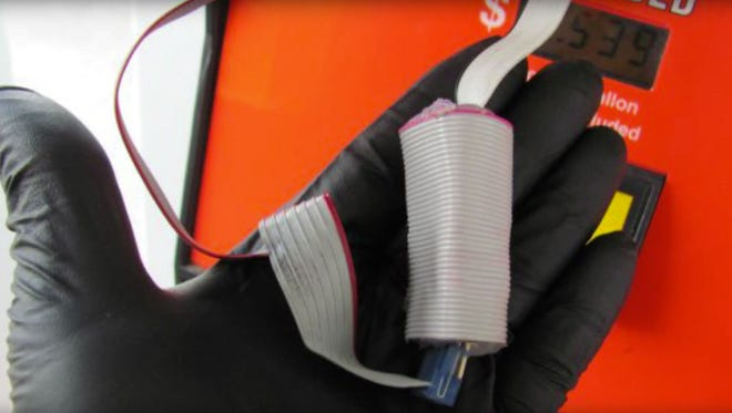 Pinckney Police recovered a credit card skimmer from a local gas station Thursday. Pictured is a skimmer recovered previously by state officials.