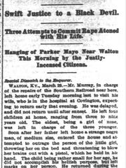 The Cincinnati Enquirer reported the lynching of Parker Mayo, an African-American, on March 30, 1877.