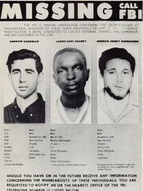 1964 FBI reward poster for the three missing civil rights workers, Andrew Goodman, James Chaney and Michael Schwerner