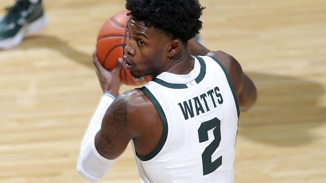Michigan State's Rocket Watts controls the ball during an NCAA college basketball game against Notre Dame, Saturday, Nov. 28, 2020, in East Lansing, Mich. Michigan State won 80-70.