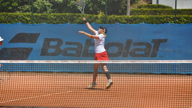 Sherri Bronson plays in the Alice Marble Cup at the ITF Seniors World Team Championships.