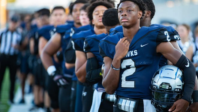 Hendrickson wide receiver Jaden Williams scored three receiving touchdowns and one return touchdown as the Hawks opened the season with a 38-28 win over Akins Thursday at The Pfield in Pflugerville.