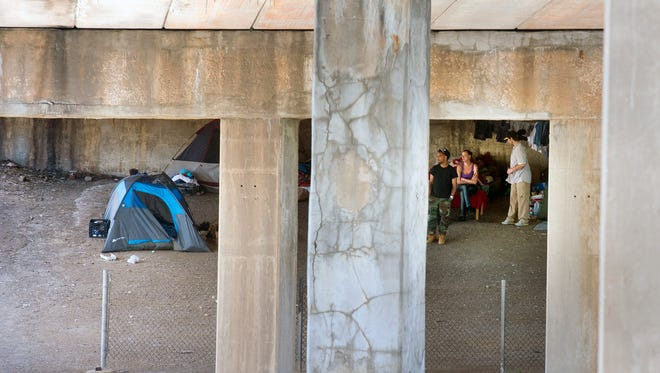 There is a small tent town beneath the West College Avenue bridge in York. Those seeking to help homeless people in York are advised by service organization leaders to not give homeless people money.