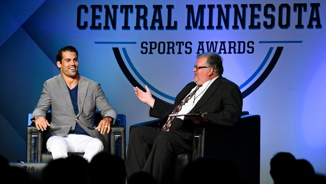 New York Jets wide receiver Eric Decker chats with Times sports reporter Tom Elliot during the Central Minnesota Sports Awards Friday, June 17, River's Edge Convention Center.