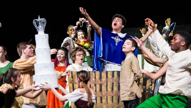 The cast and crew of Lebanon High School's production of Cinderella rehearses on Thursday, March 9, 2017.