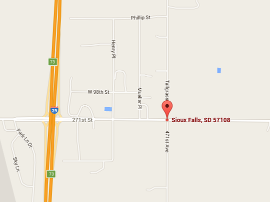 A map showing where the crash at 271st Street and 471st Avenue occurred on Monday.
