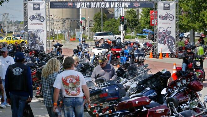 Harley-Davidson riders descend on the Harley-Davidson Museum in Milwaukee last summer.
