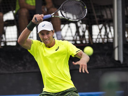 Alex Kuznetsov returns a shot during his match against Guilherme Clezar during the Levine Gouldin & Thompson Tennis Challenger on Tuesday. Kuznetsov, the 2013 LG&T Challenger singles champion, upset the fourth-seeded Clezar, 6-1, 6-3.