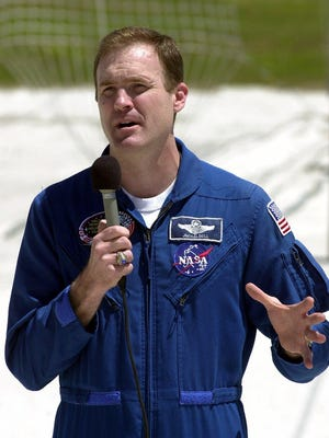 James Halsell Jr. speaks to reporters in 2000 at the Kennedy Space Center in Cape Canaveral, Florida.