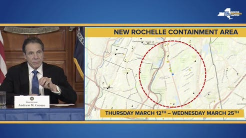 """Gov. Andrew Cuomo lays out his plan for a New Rochelle """"containment area"""" to help stop the spread of the coronavirus; March 10, 2020."""