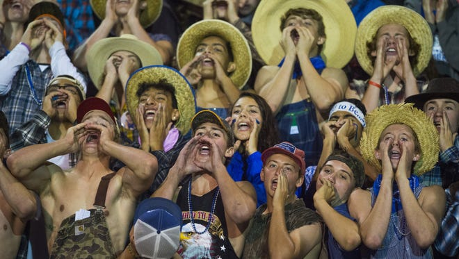 Poudre High School students chant during a game against Fossil Ridge at French Field on Oct. 2, 2015, in Fort Collins. Poudre added more students this year than any other district school.