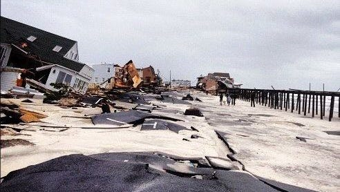 Damage caused by superstorm Sandy on the beachfront in Ortley Beach.