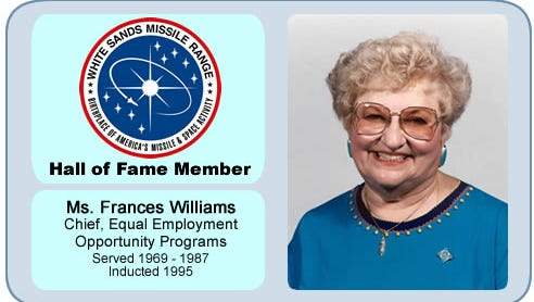 White Sands Missile Range Hall of Fame member Frances Williams